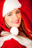 Female Santa at Christmas Royalty Free Stock Images