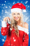 Female Santa Claus Christmas Shopping Online Stock Photography