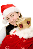 Female santa claus with gifts Stock Photography