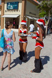Female Santa Claus offering drinks to tourists Stock Photo