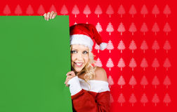 Female Santa Claus Showing Blank Green Sign Stock Images