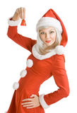 Female Santa Clause. Holding a hand bell stock photography
