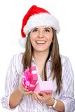 Female Santa with a gift Stock Image