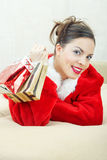Female Santa with gift Royalty Free Stock Photo
