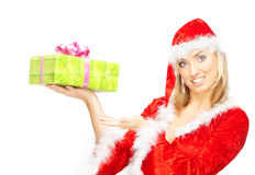 Female Santa with gift Stock Photography