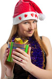 Female santa with gift Royalty Free Stock Photos