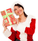 Female Santa with a gift Stock Photo
