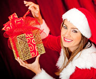 Female Santa with gifts Royalty Free Stock Photos