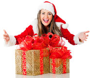 Female Santa with gifts Stock Photography