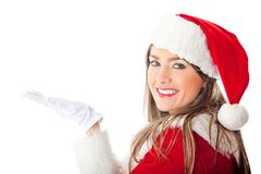 Female Santa holding something Stock Images