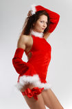 Female Santa In Sexual Red Dress Stock Photos