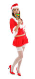 Female Santa with lollipop Royalty Free Stock Image