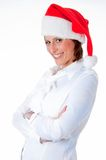 Female Santa pointing down at blank billboard. Happy Female Santa pointing down at blank billboard, isolated background Stock Images