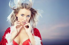 Female Santa on the sky Royalty Free Stock Photo