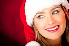 Female Santa smiling Royalty Free Stock Photos