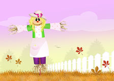Female scarecrow. Funny illustration of female scarecrow Stock Photography