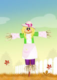 Female scarecrow. Funny illustration of female scarecrow in the field Royalty Free Stock Images