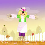 Female scarecrow. Illustration of female scarecrow in the farm Stock Photography