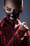 Female with scary make up for halloween night Stock Photography
