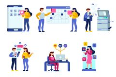 Female schedule calendar application icons. People debate on calendar building a female schedule application user interface. Simple flat vector deign Royalty Free Stock Image