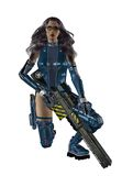 Female Sci Fi Warrior with a gun Royalty Free Stock Photos