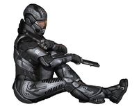 Female Science Fiction Soldier - Sitting. Female futuristic science fiction soldier in protective armoured space suit, sitting at rest holding pistols, 3d Stock Photography