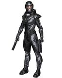 Female Science Fiction Soldier - Standing. Female futuristic science fiction soldier in protective armoured space suit, standing holding pistols, 3d digitally Stock Photo