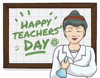 Female Science Teacher Celebrating Teachers' Day, Vector Illustration. Smiling senior female science professor celebrating Teachers' Day with student's greeting Stock Photos