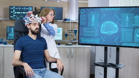 Female scientis in research for brain activity