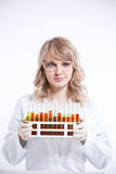 Female scientist. An isolated shot of a female scientist Stock Image