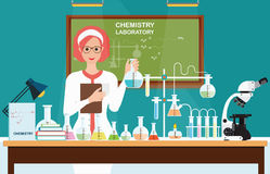Female scientist at Chemical laboratory Science . Royalty Free Stock Photos