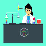 Female scientist. In chemistry laboratory Stock Photography
