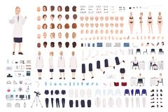 Female scientist constructor or scientific laboratory DIY kit. Collection of women body parts, facial expressions. Hairstyles, clothing isolated on white stock illustration