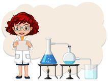 A Female Scientist Experiment Template. Illustration royalty free illustration