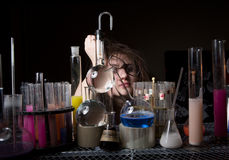 Female scientist funny Stock Image