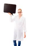 Female scientist holding a blank speech bubble Royalty Free Stock Image