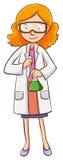 Female scientist holding flasks Stock Photos