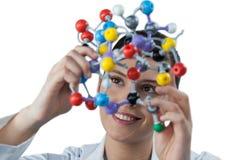 Female scientist holding molecular model Royalty Free Stock Image
