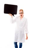 Female scientist holding a speech bubble and shouting Royalty Free Stock Image