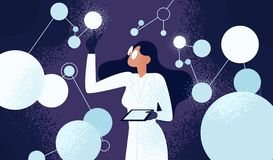 Female scientist in lab coat checking artificial neurons connected into neural network. Computational neuroscience. Machine learning, scientific research royalty free illustration