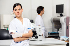 Female Scientist Looking Away In Lab Stock Photo