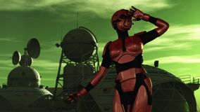 Female scientist in protective armour at space exploration base. Female in red body armor and breathing apparatus gazes out from science fiction base on alien Stock Photo