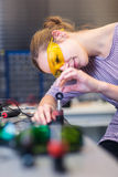 Female scientist in a quantum  optics lab Stock Photos