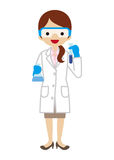 Female Scientist. Simple character icon stock illustration