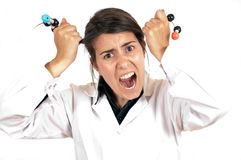 Female scientist stressing with organic molecule Stock Photos