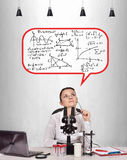 Female scientist thinks. About the invention of a new medicament Royalty Free Stock Images