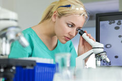 Female Scientist Using Microscope In Laboratory Stock Images