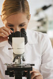 Female Scientist With Microscope Stock Photos