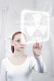 Female scientist working in the futuristic Royalty Free Stock Images