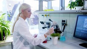 Female scientist working in modern lab. Doctor making microbiology research. Biotechnology, chemistry, bacteriology